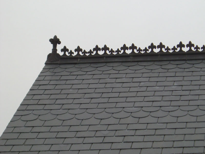 Slate roof and ridge detail
