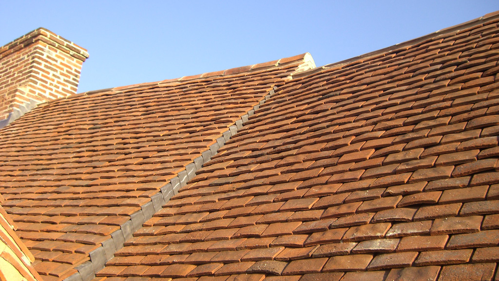 Tiled roof on church restoration